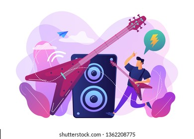 Guitarist playing the electric guitar at concert, tiny people. Rock music style, rock and roll party, rock music festival concept. Bright vibrant violet vector isolated illustration