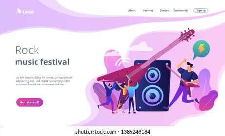 Guitarist playing the electric guitar at concert, tiny people. Rock music style, rock and roll party, rock music festival concept. Website homepage landing web page template.