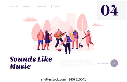 Guitarist and Saxophonist Playing Music in Park, People Watching Concert, Put Money in Hat, Street Musicians Perform Outdoors. Website Landing Page, Web Page. Cartoon Flat Vector Illustration, Banner