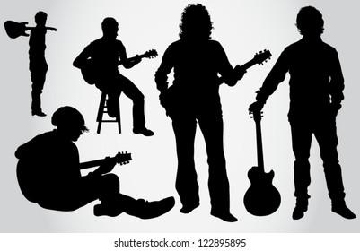 Guitarist silhouettes