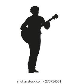 Guitarist vector silhouette