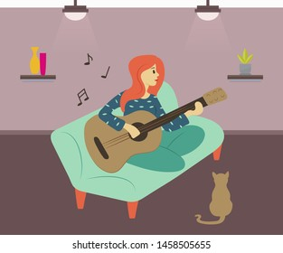 Guitarist woman vector, female character sitting on sofa playing guitar. Cat listening to lady, interior of room, light of lamp and wallpaper, hobby. Flat cartoon