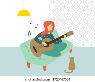 Guitarist woman vector, female character sitting on sofa playing guitar. Cat listening to lady, interior of room, light of lamp and wallpaper, hobby