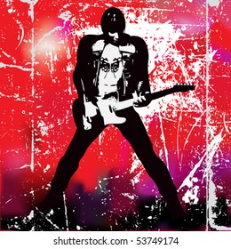 Guitarista, Vector Poster of a grunge guitarist