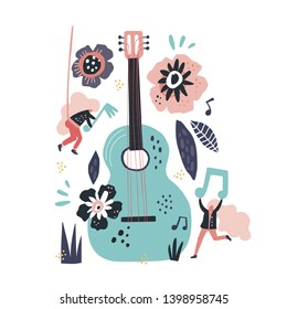 Guitarists flat hand drawn vector characters. Tiny blonde musicians, rock band, duet illustration. Female musicians with guitar scandinavian style clipart. Music festival poster design element