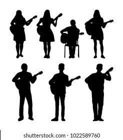 Guitarists  vector silhouettes