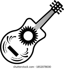 Guitarron mexicano concept, big Mexican guitar vector icon design, Mexican culture symbol on White background, Customs & Traditions Signs