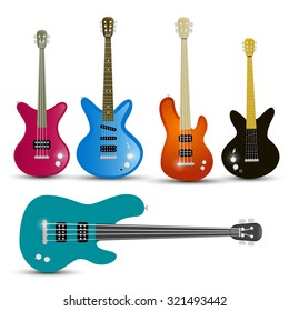 Guitars and Bass Guitars Set Isolated on White Background Vector