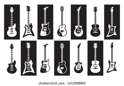 Guitars. Black and white electric and acoustic rock guitars of different types. Vector minimalist isolated instrument silhouette set