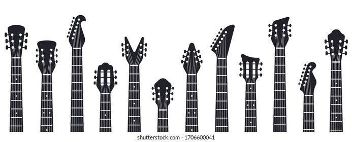 Guitars headstock. Rock music guitar necks silhouette. Electric and acoustic music guitars isolated vector illustration. Acoustic entertainment, instrument guitar, musical equipment