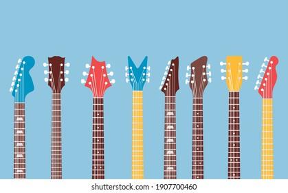 guitars necks and headstocks musical icons vector illustration design