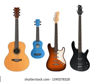 Guitars. Realistic musical instruments sound making items rock and acoustic guitars vector collection