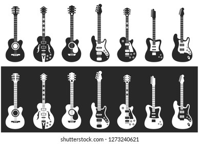 Guitars sets 1- Vector illustrations