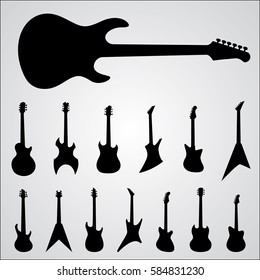 Guitars silhouettes set. Isolated vector