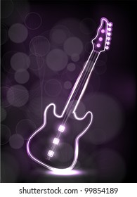 Guiter in purple color having neon effect on wave background, EPS 10. Vector illustration.can be use as flyer, banner or posters for musical events.