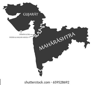Gujarat - Daman and Diu - Dadra and Nagar Haveli - Maharashtra - Goa Map Illustration of Indian states