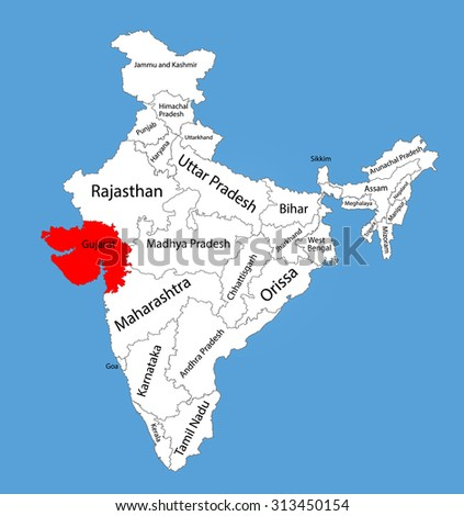 Gujarat State India Vector Map Silhouette Stock Vector (Royalty Free ...