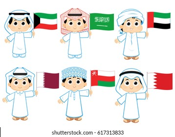 Gulf Cooperation Council Flags ( Kuwait . Saudi Arabia . United Arab Emirates , Qatar ,  Oman and  Bahrain )
