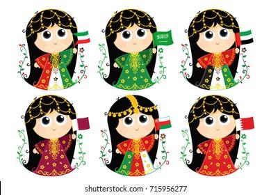 Gulf Cooperation Council Flags : Kuwait , Saudi Arabia . United Arab Emirates , Qatar . Oman and Bahrain