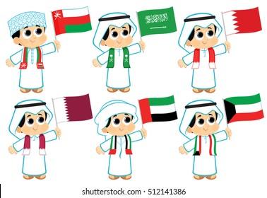 Gulf Cooperation Council Flags ( Oman , Saudi Arabia , Bahrain , Qatar ,  United Arab Emirates and Kuwait )