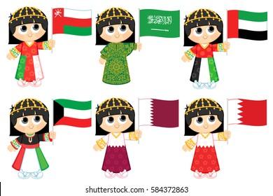 Gulf Cooperation Council Flags  ( Oman , Saudi Arabia . United Arab Emirates , Kuwait . Qatar and  Bahrain )