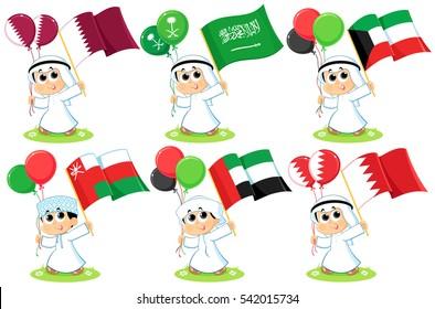 Gulf Cooperation Council Flags Qatar , Saudi Arabia , Kuwait ,  Oman , United Arab Emirates  and Bahrain