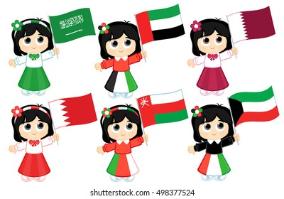 Gulf Cooperation Council Flags  ( Saudi Arabia , United Arab Emirates , Qatar , Bahrain ,   Oman, and Kuwait  )
