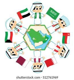 Gulf Cooperation Council Flags ( Saudi Arabia , Oman , Bahrain , Qatar ,  Kuwait  and United Arab Emirates  )