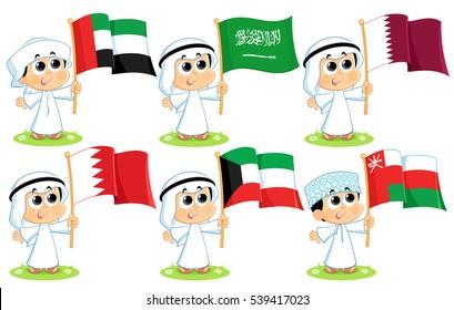Gulf Cooperation Council Flags set ( United Arab Emirates  Saudi Arabia  Qatar  Bahrain  Kuwait  and Oman )
