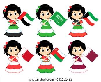 Gulf Cooperation Council Flags set ( United Arab Emirates , Saudi Arabia .  Kuwait . Bahrain , Oman and Qatar )