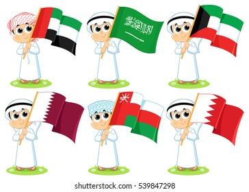 Gulf Cooperation Council Flags ( United Arab Emirates  Saudi Arabia  Kuwait  Qatar Oman  and Bahrain )