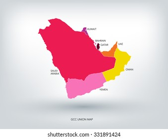 GULF COUNTRIES NEW COLORFUL MAP, VECTOR