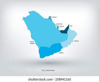 GULF COUNTRIES NEW MAP, VECTOR