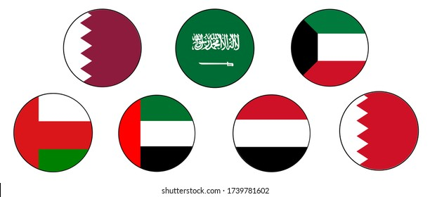 Gulf Country Flag Icon Set in the Middle East: Qatar, Bahrain, Saudi Arabia, United Arab Emirates, Yemen, Oman and Kuwait join together.