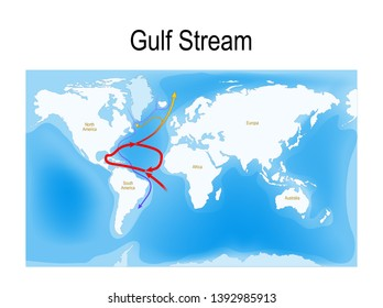 The Gulf Stream is a warm and swift Atlantic ocean current that originates in the Gulf of Mexico. red - warm surface currents and blue - cool deep-water currents
