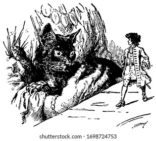 Gulliver and Giant Cat, this scene shows a man standing on table and looking at giant cat in woman's lap, vintage line drawing or engraving illustration