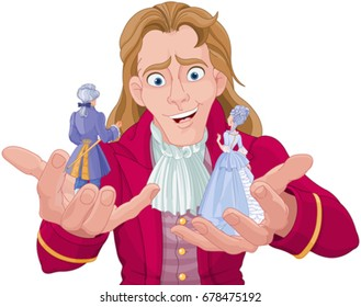 Gulliver holds Lilliputians on his hands