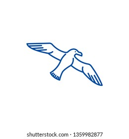 Gull,seagull line icon concept. Gull,seagull flat  vector symbol, sign, outline illustration.