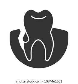 Gum bleeding glyph icon. Gingivitis. Silhouette symbol. Negative space. Vector isolated illustration
