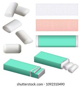 Gum chewing bubble mockup set. Realistic illustration of 9 gum chewing bubble mockups for web