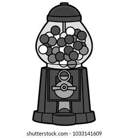 Gumball Machine Illustration - A vector cartoon illustration of a grocery store Gumball Machine.