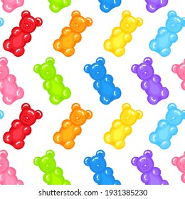 Gummy bear jelly sweet candy seamless pattern with amazing flavor flat style design vector illustration. Bright colorful jelly delicious sweets isolated on white background.