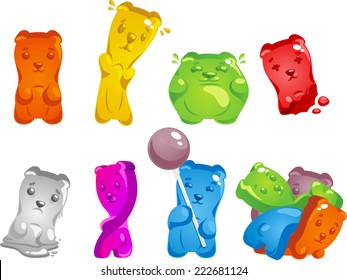 Gummy Bear Set, with gummy bear in different shapes, sizes and colors vector illustration