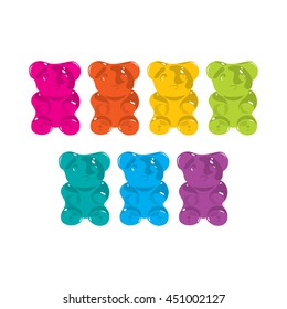 Gummy bear seven colors