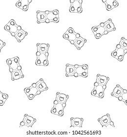 Gummy bears vector seamless pattern. Gummy bears candy isolated on white background