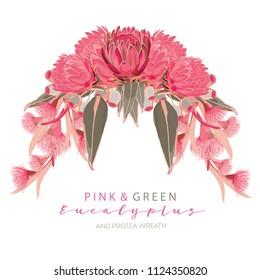 Gumnut Pink Protea Wreath