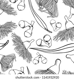 Gumnut Seamless Pattern Hand-drawn black and white Vector Illustration