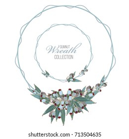 Gumnut Wreath Set Vector, perfect designs for wedding invitations, greeting cards, and stationery
