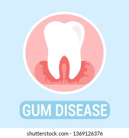 Gums Disease, Dentistry Flat Banner Vector Concept. Dental Clinic, Stomatology Poster. Orthodontic Illness, Problem Illustration with Typography. Tooth Sickness Treatment, Oral Hygiene