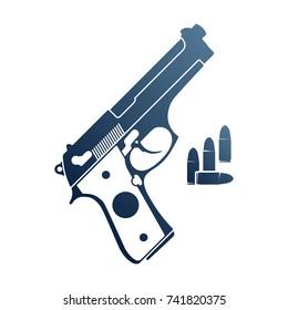 Gun and ammo. Emblem with handgun and bullets.